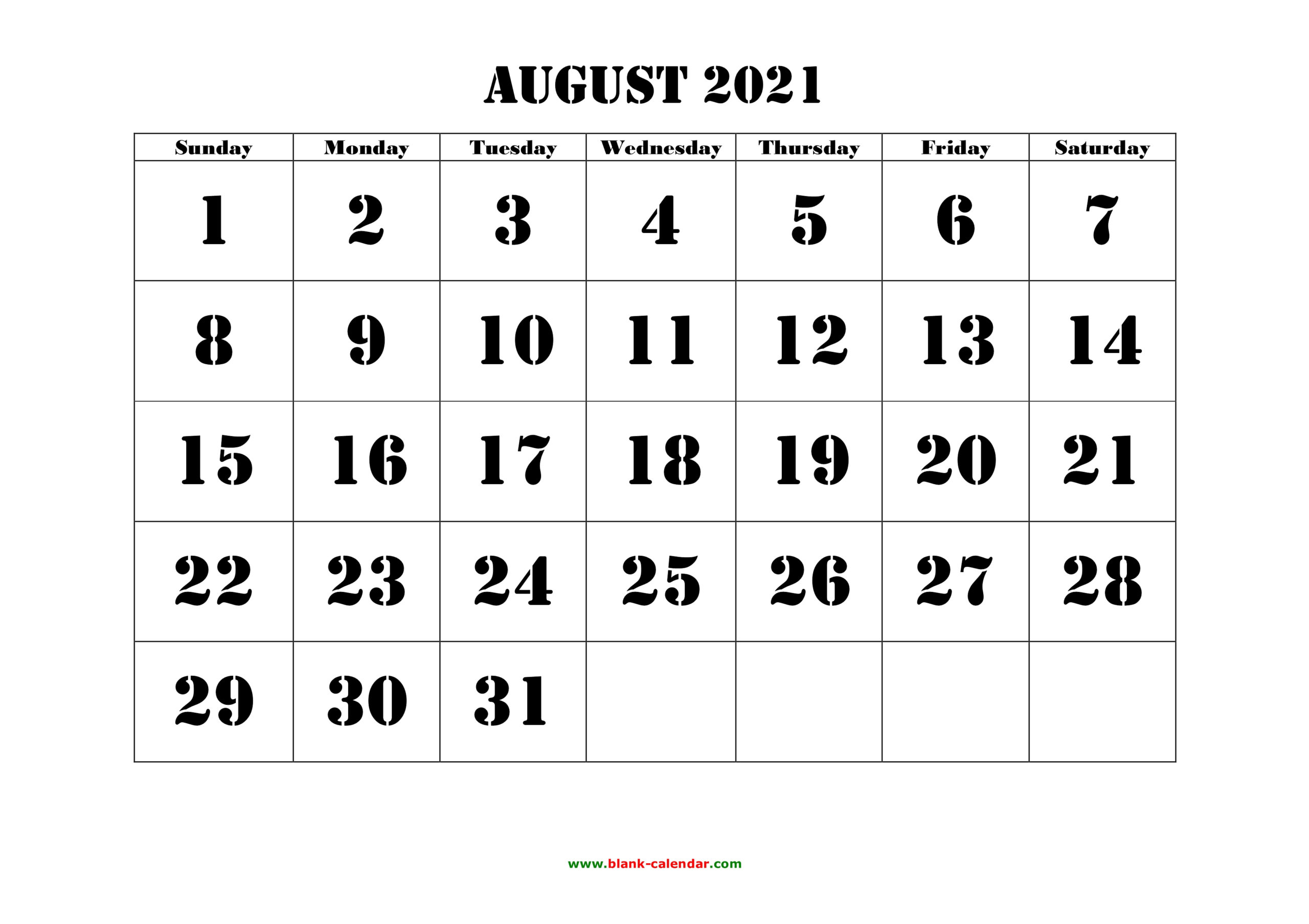 Free Download Printable August 2021 Calendar, Large Font