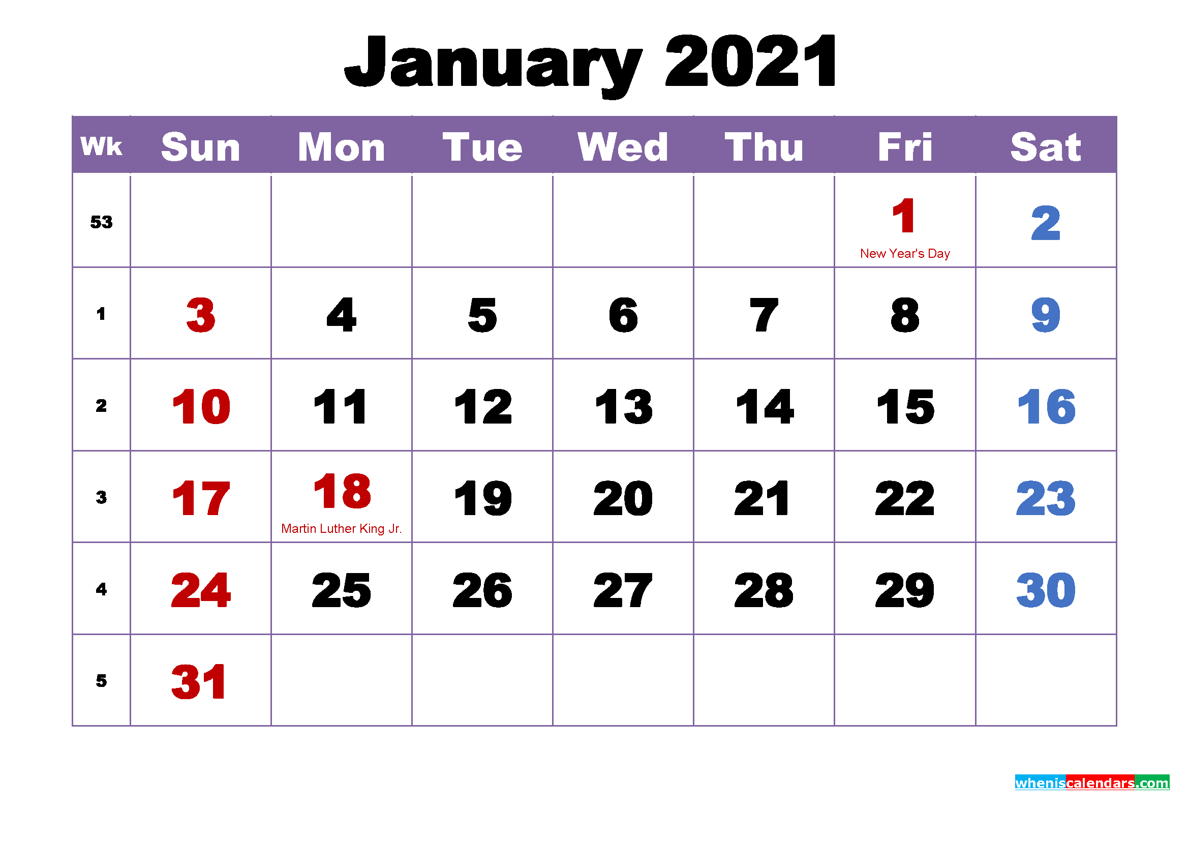 Free Downloadable Monthly Calendars 2021