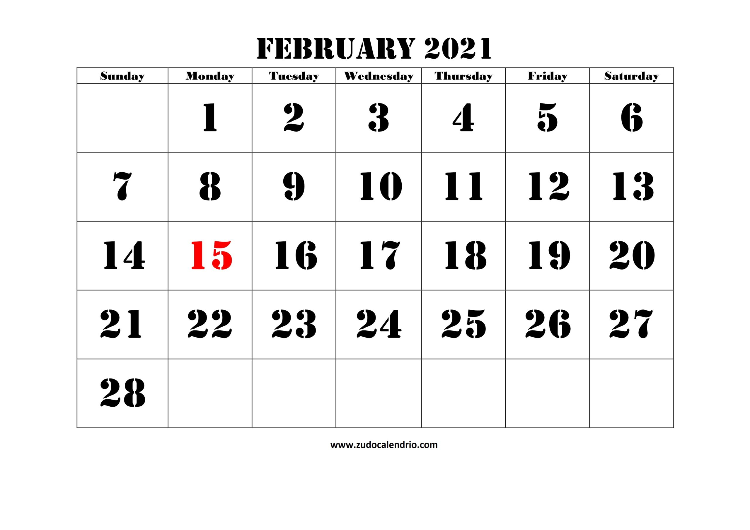 Free February 2021 Calendar With Holidays