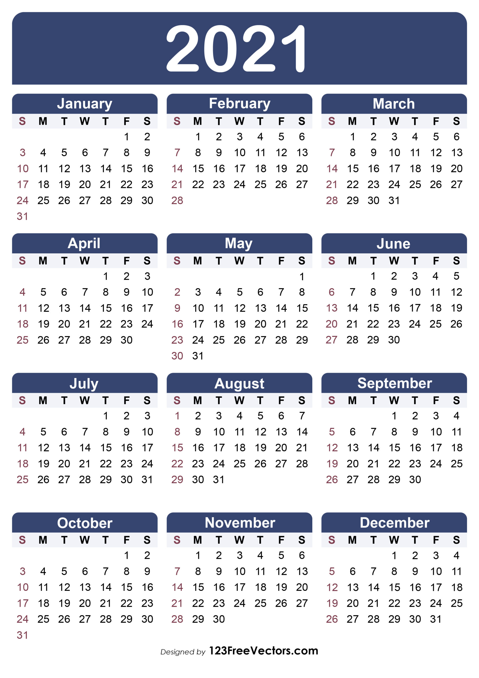 Free Free Printable Calendar 2021