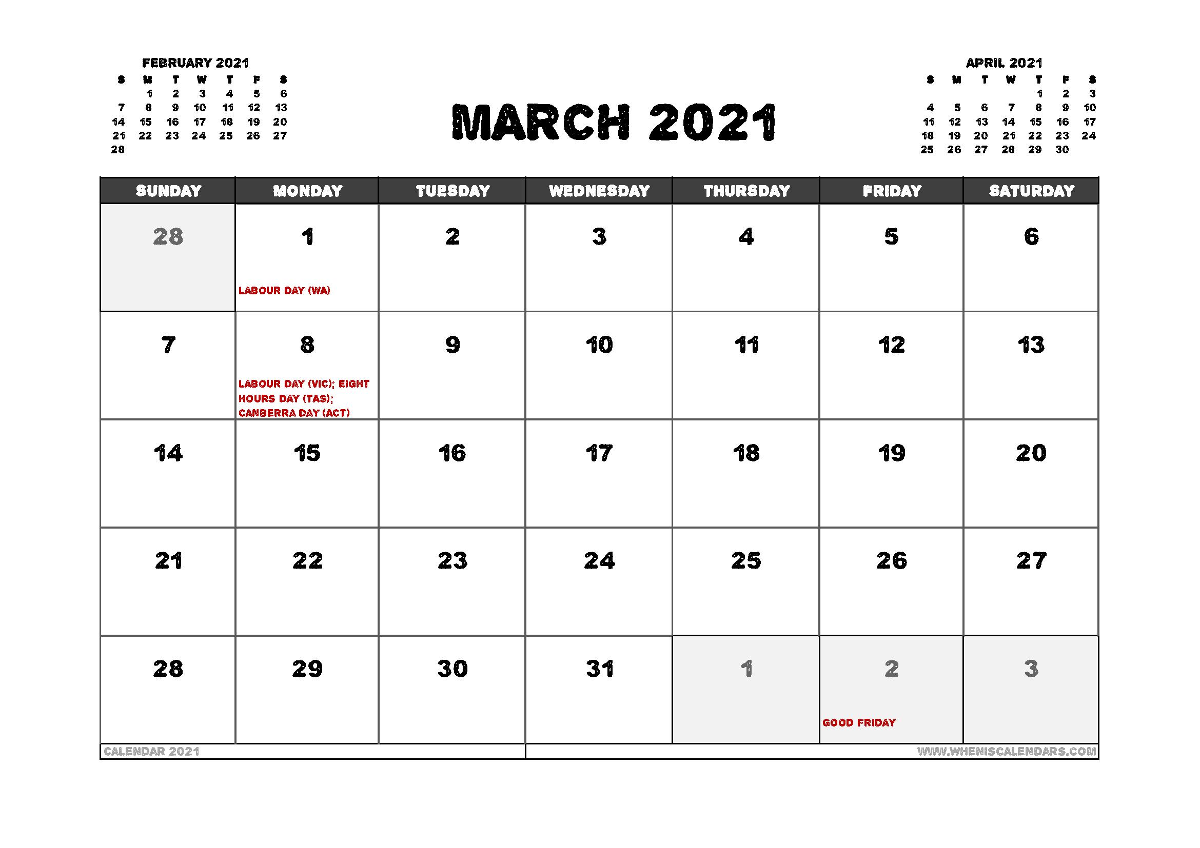 Free March 2021 Calendar Australia Printable – Free