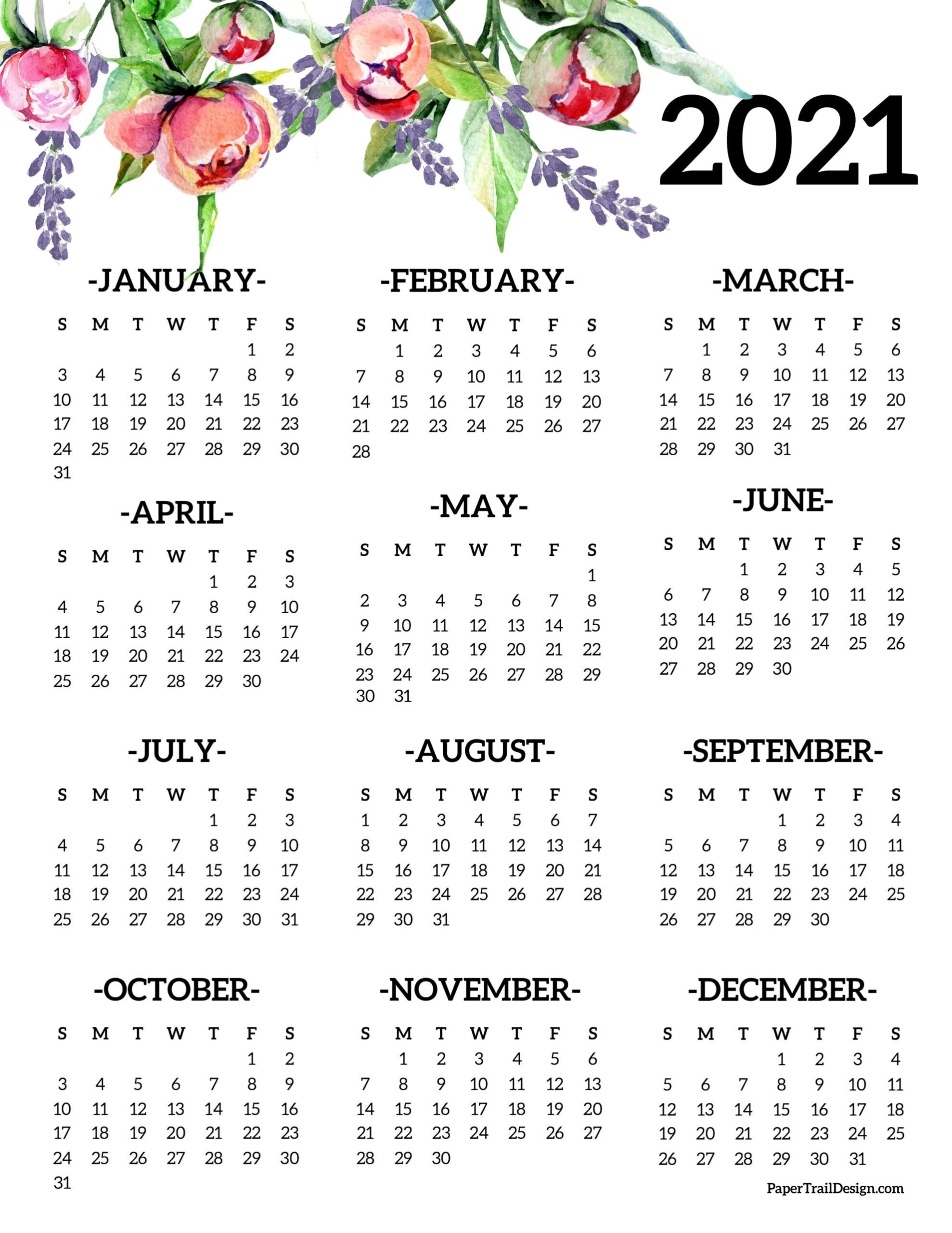 Free Printable 2021 One Page Floral Calendar