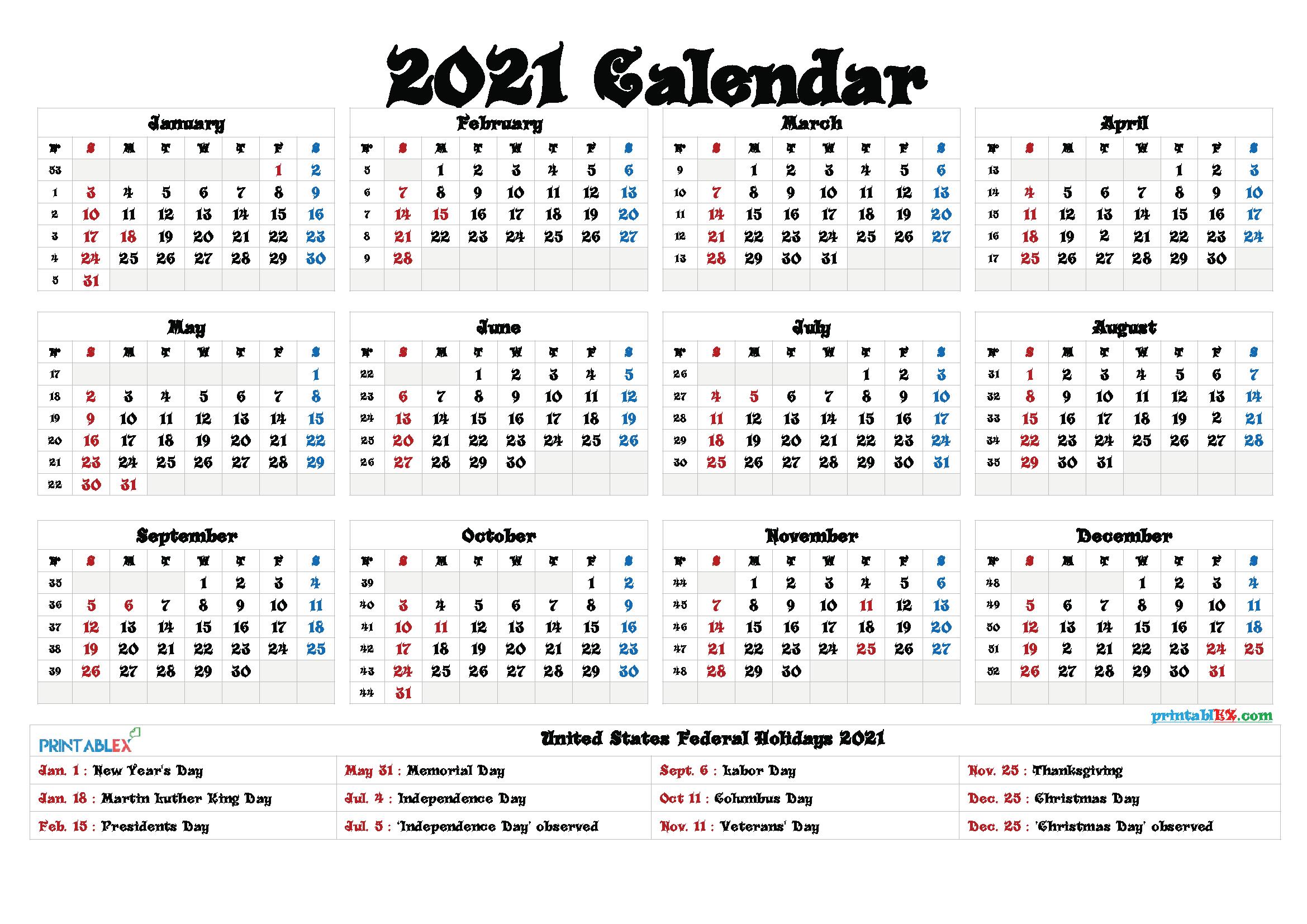 Free Printable Calendar 2021