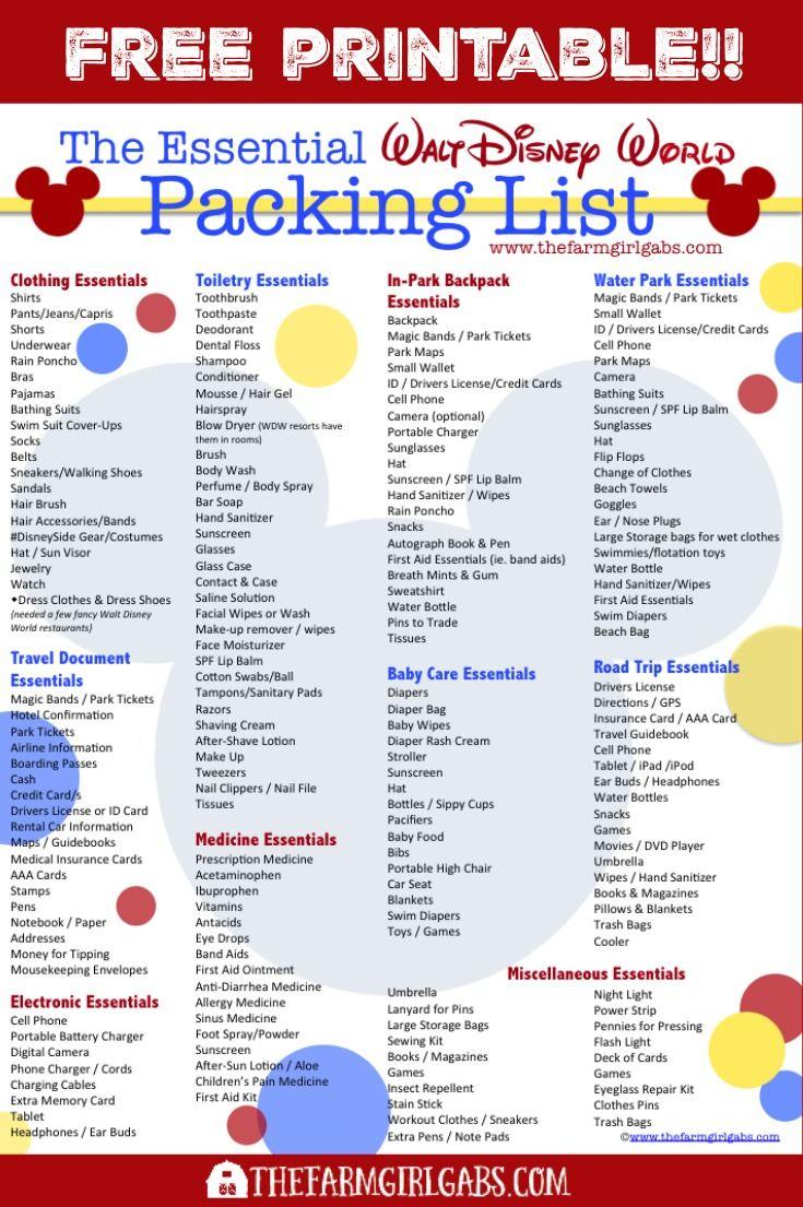 Free Printable Disney Packing List