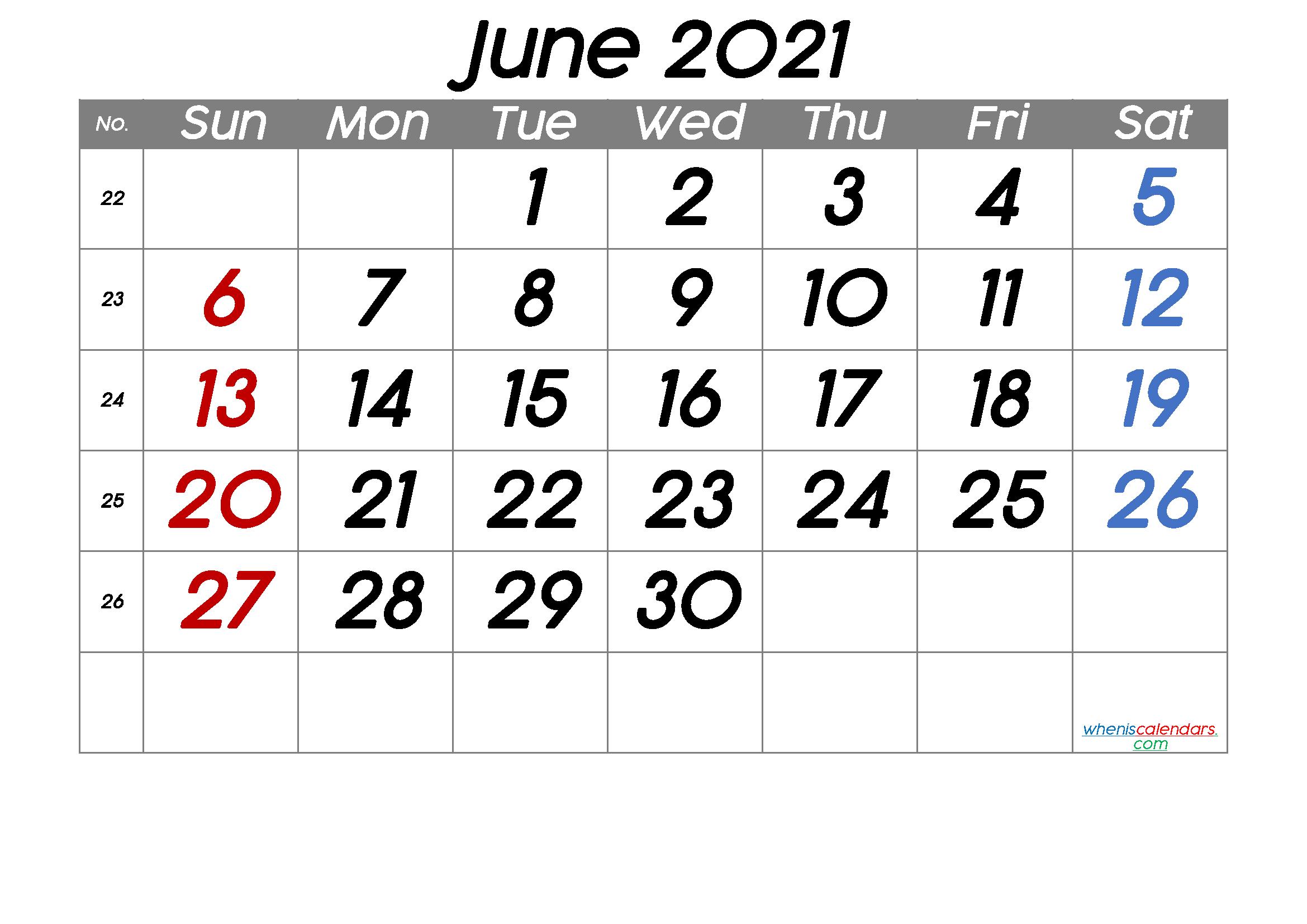 Free Printable June 2021 Calendar (Premium)
