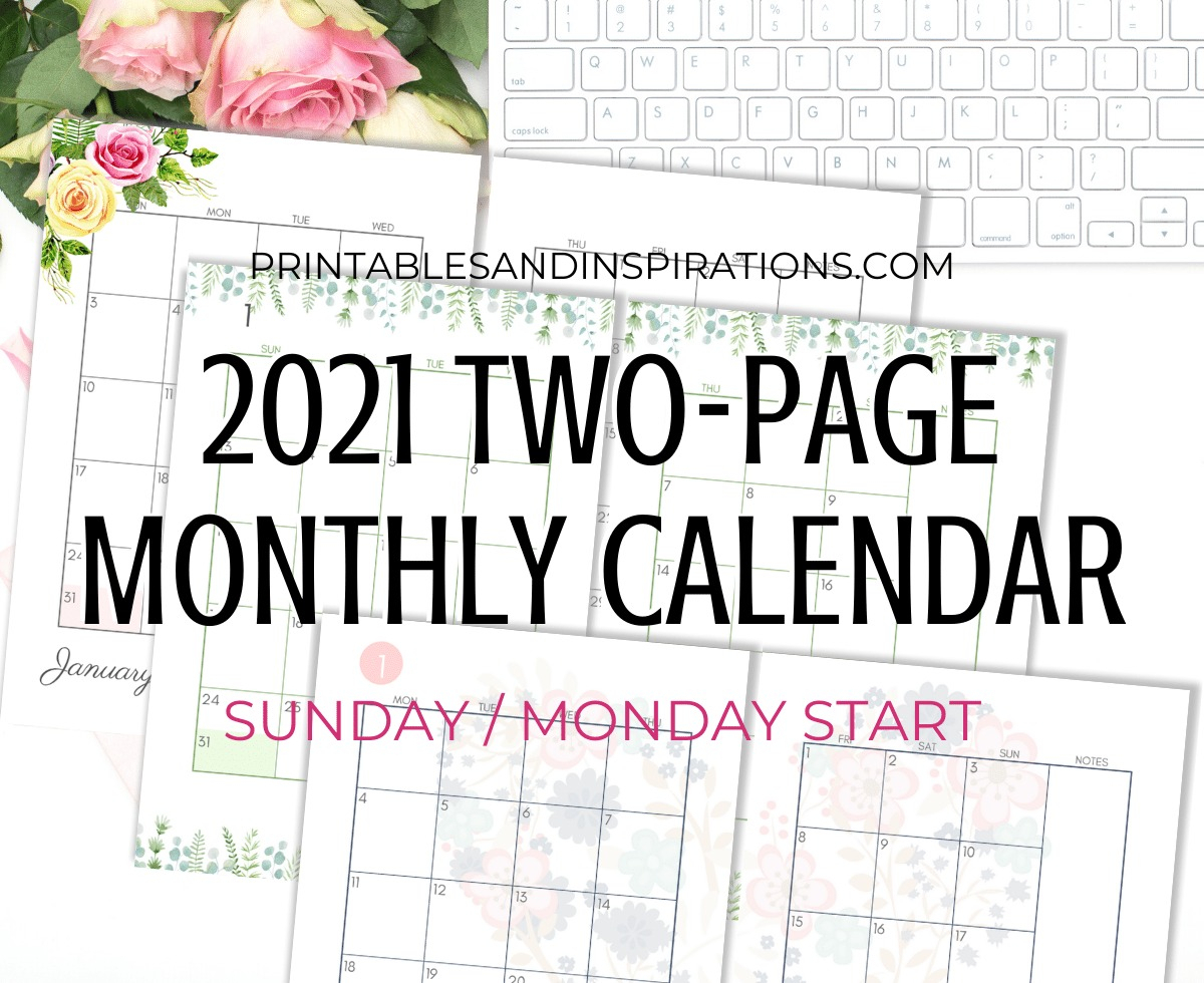 Free Printable Monthly Calendar 2021 Free