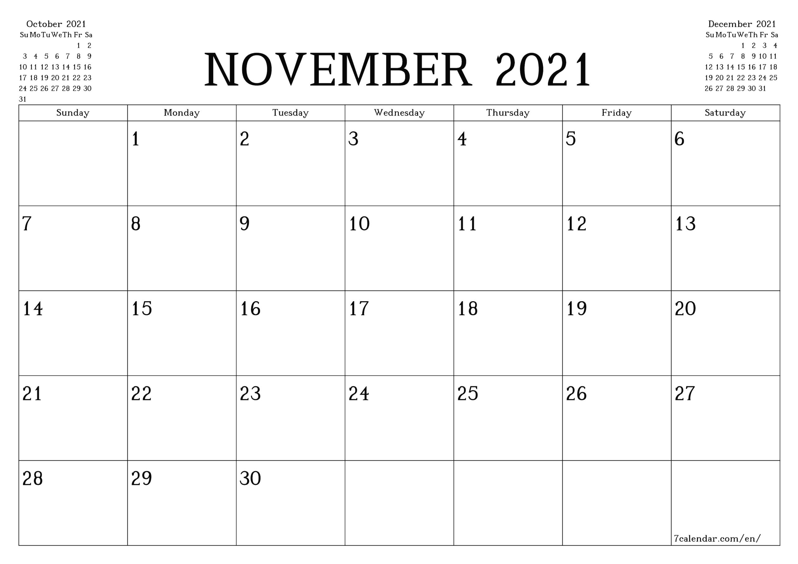 Free Printable Monthly Calendar To Print 2021