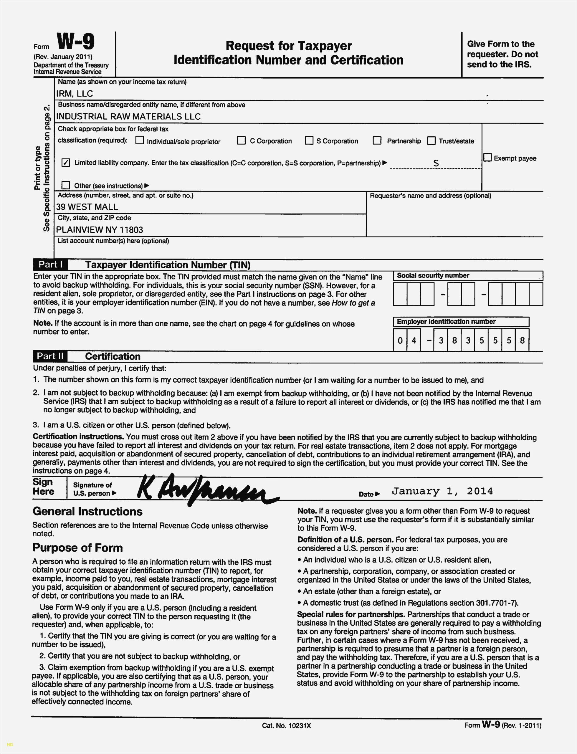Free Printable W9 Form 2021
