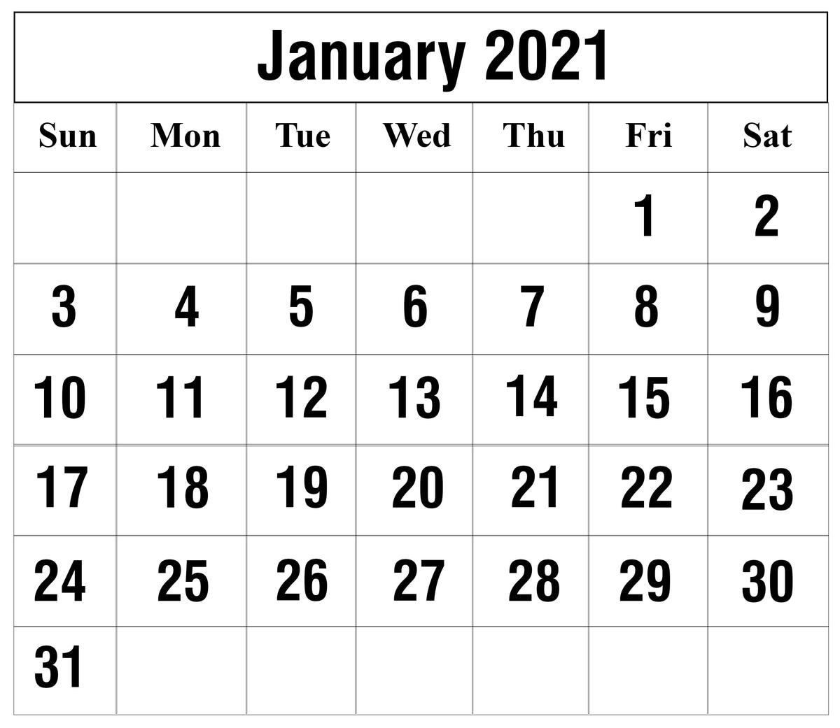 Julian Calendar 2021 Printable