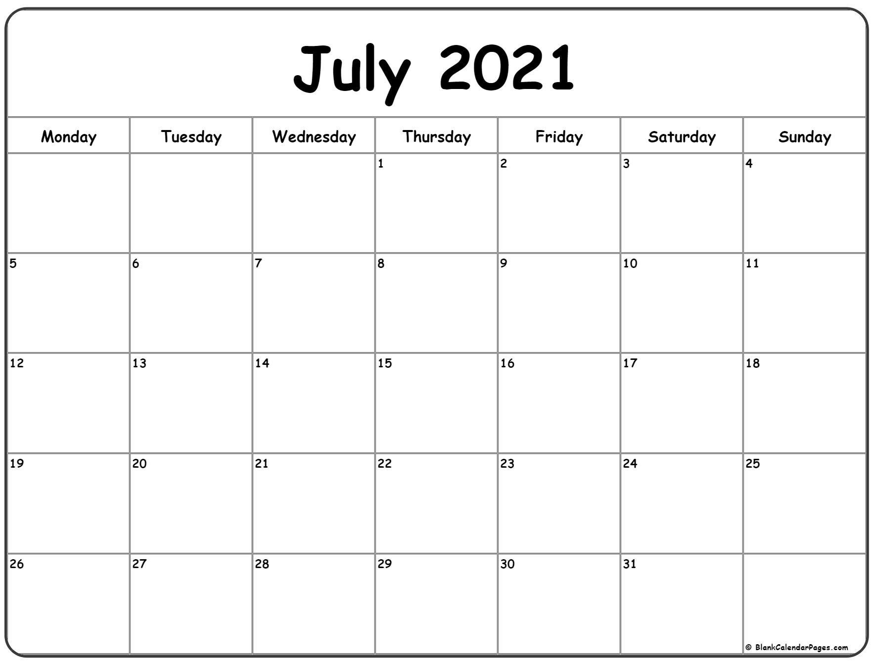 July Calendar 2021