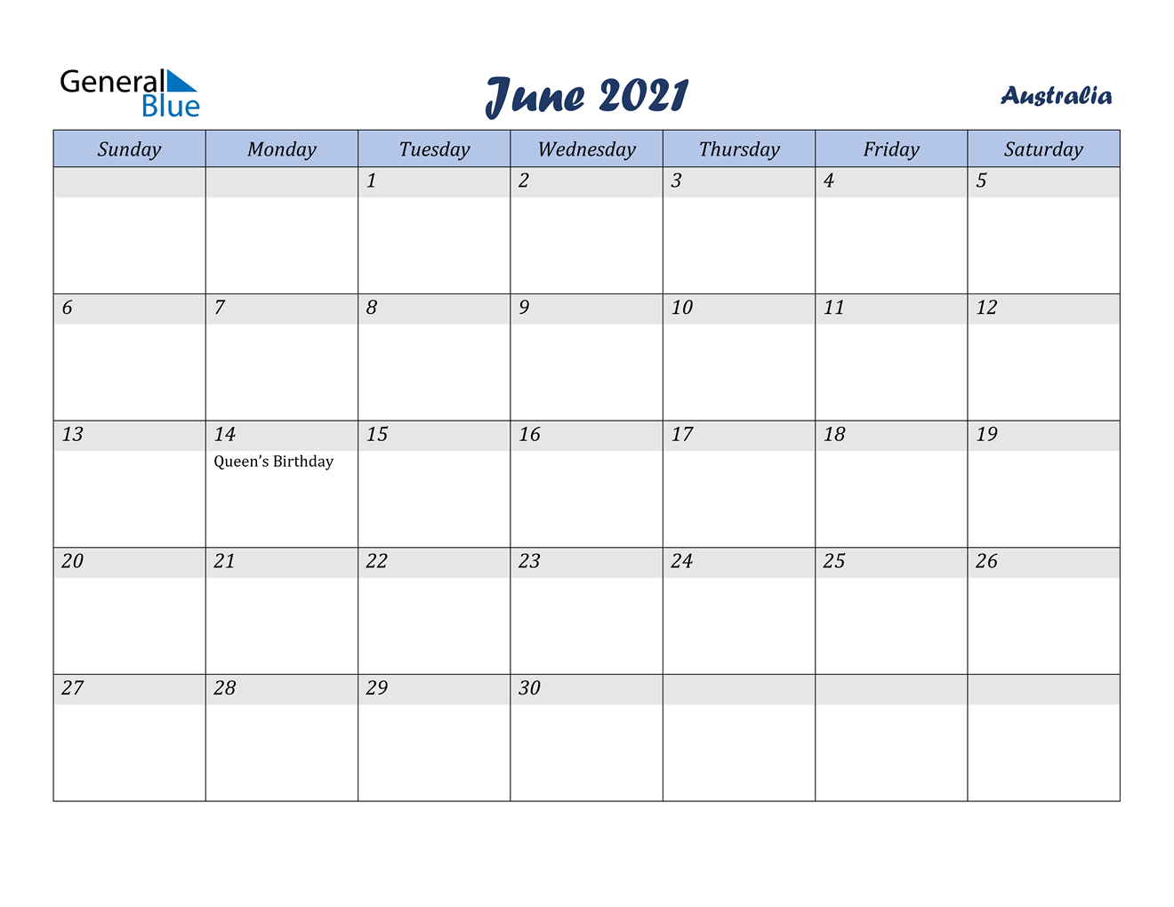 June 2021 Calendar - Australia