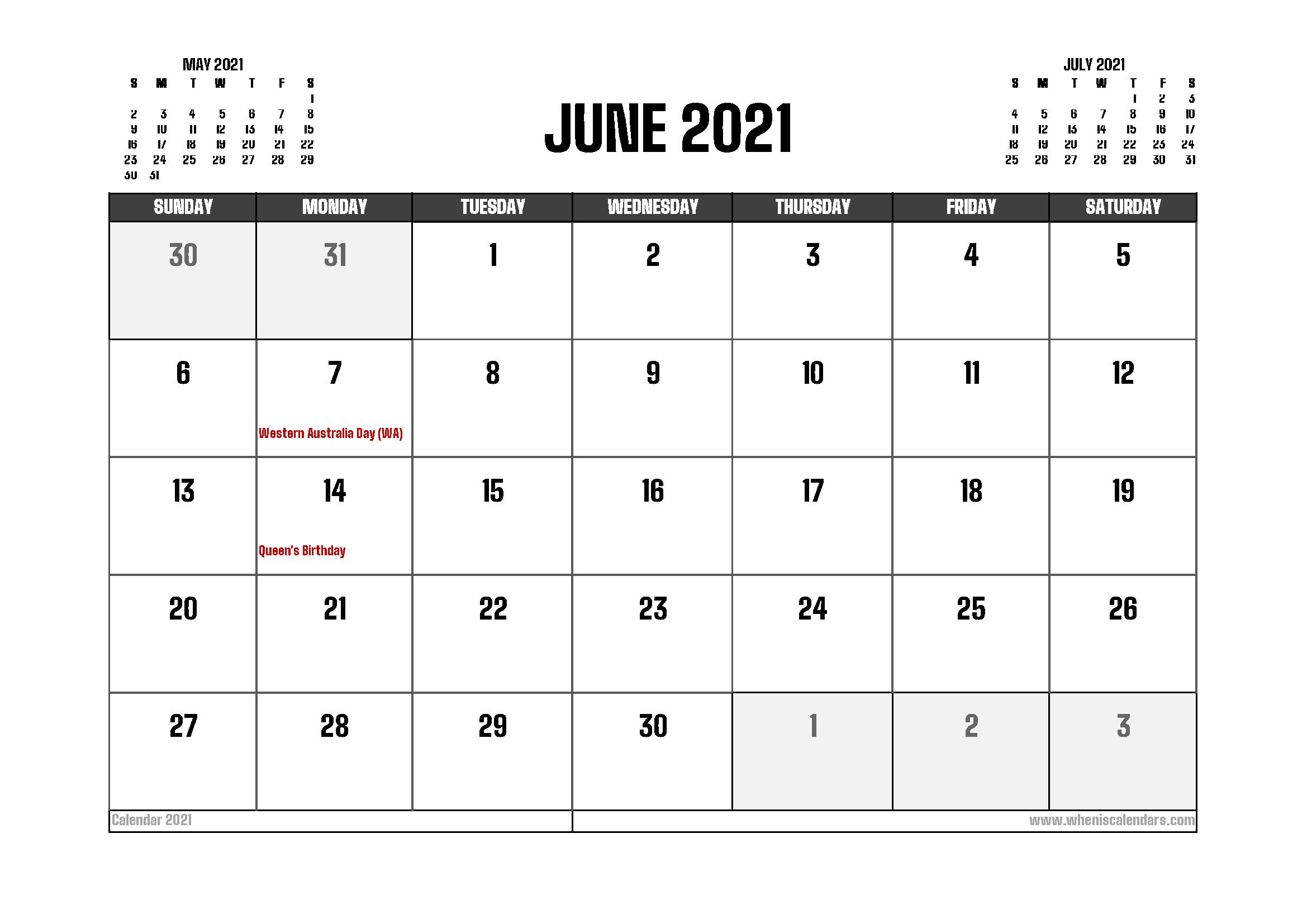 June 2021 Calendar Australia