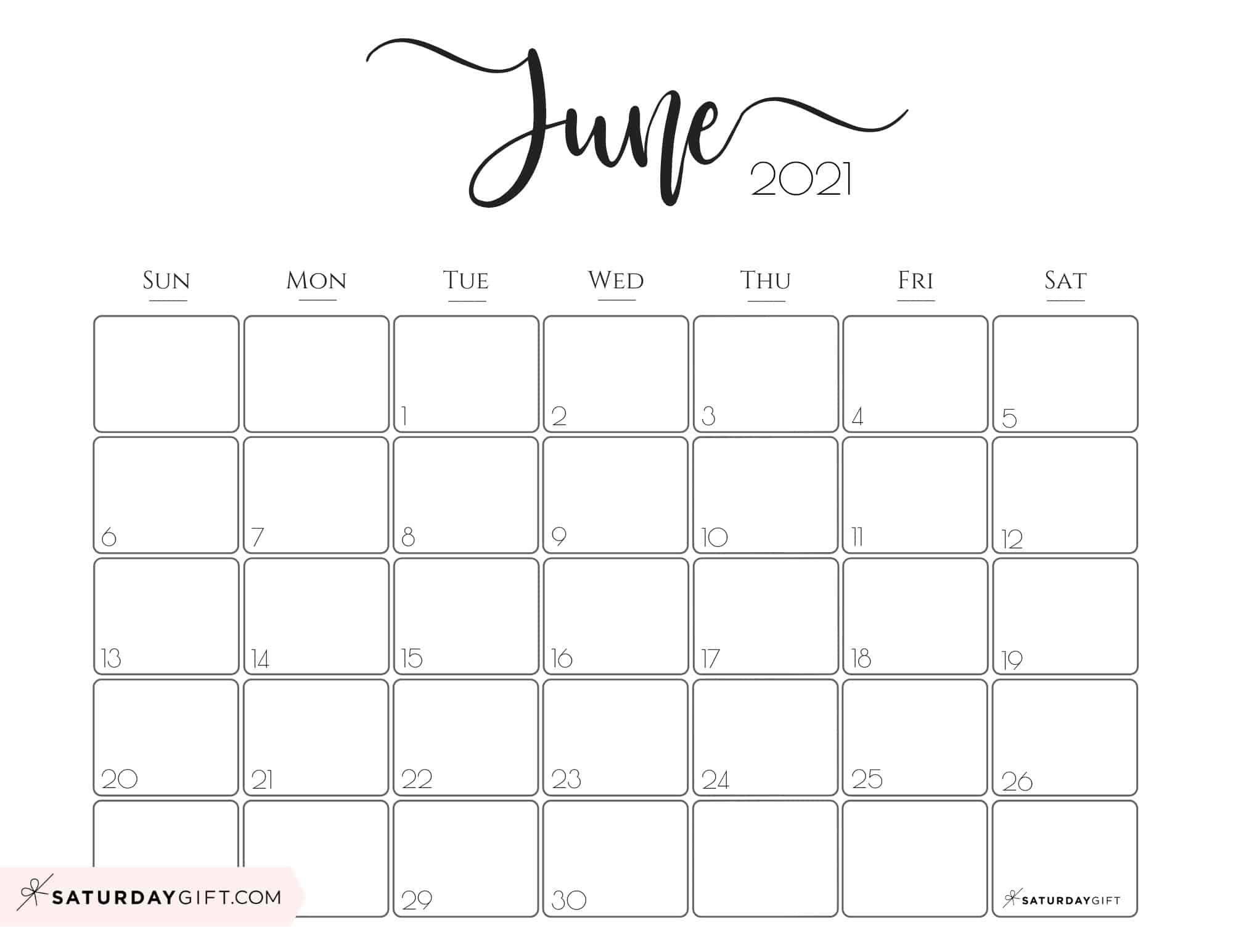 June 2021 Printable Calendar Free