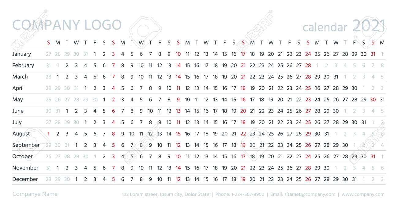 Linear Calendar, 2021 Year. Vector. Template Grid Planner. Yearly..