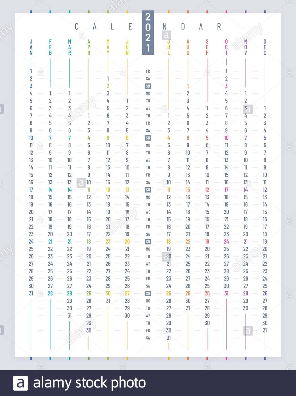 Linear Poster Calendar 2021 Vector Design. Vertical Calendar