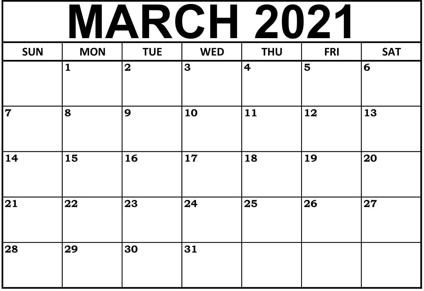 March 2021 Calendar Australia