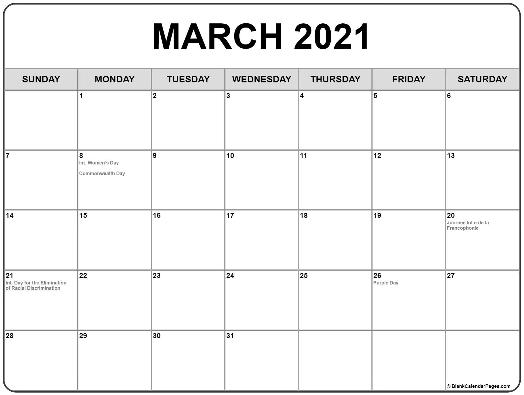March 2021 Calendar With Holidays