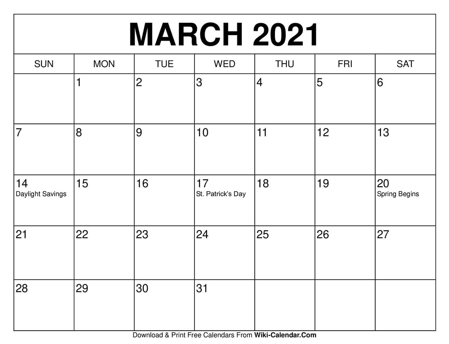 March 2021 Printable Calendar 8X10
