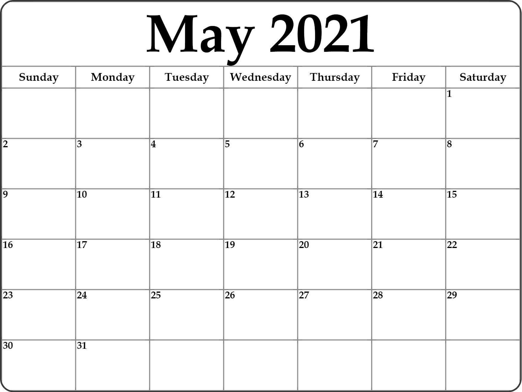 May 2021 Calendar