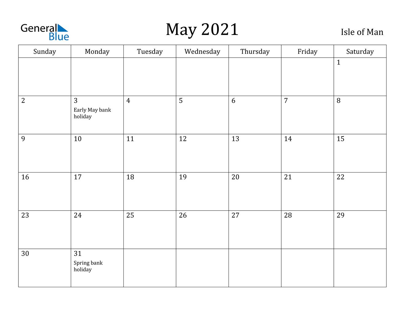 May 2021 Calendar - Isle Of Man