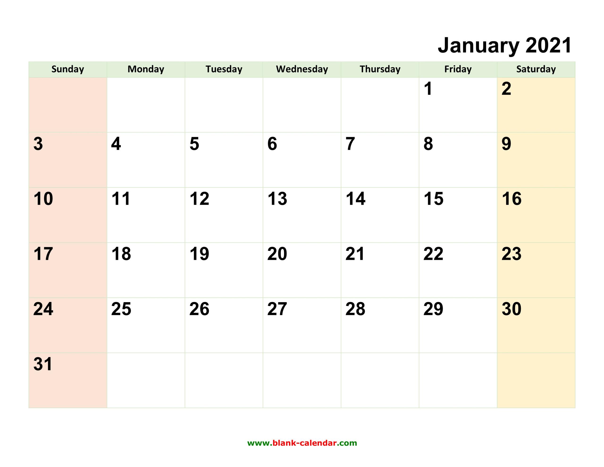 Monthly Calendar 2021