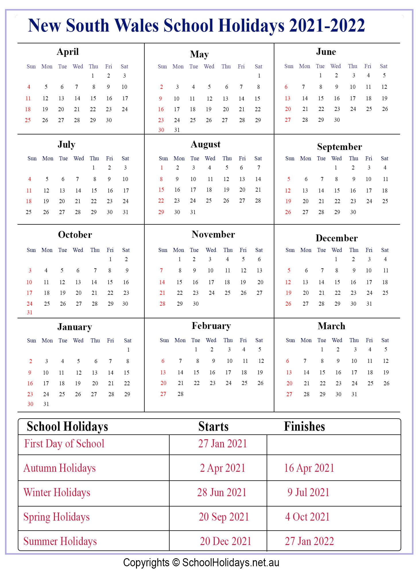 [%Nsw *School Holidays* 2021 [New South Wales ]❤️|2021 Calendar Printable With Holidays And School Terms|2021 Calendar Printable With Holidays And School Terms%]