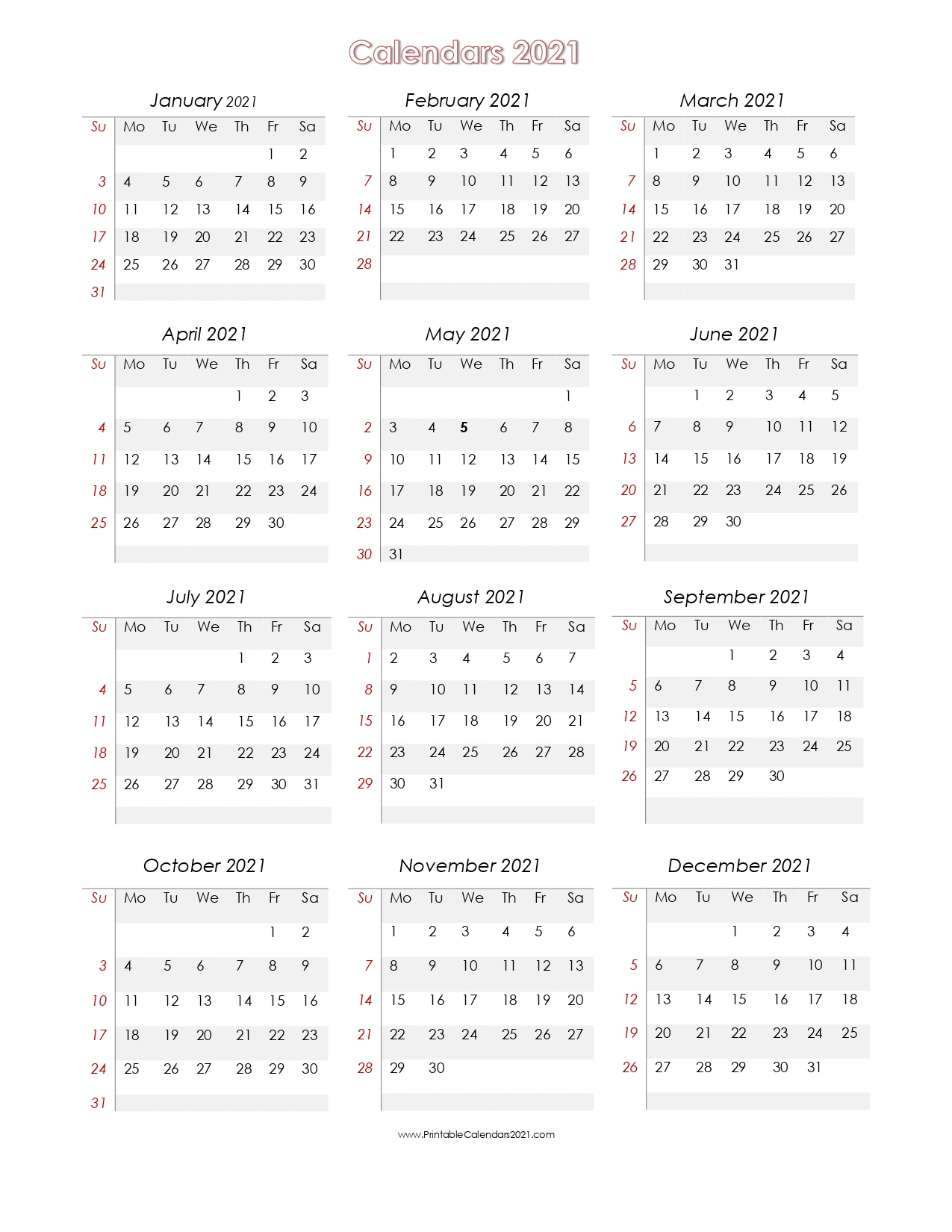 Online Free Printable Calendar 2021