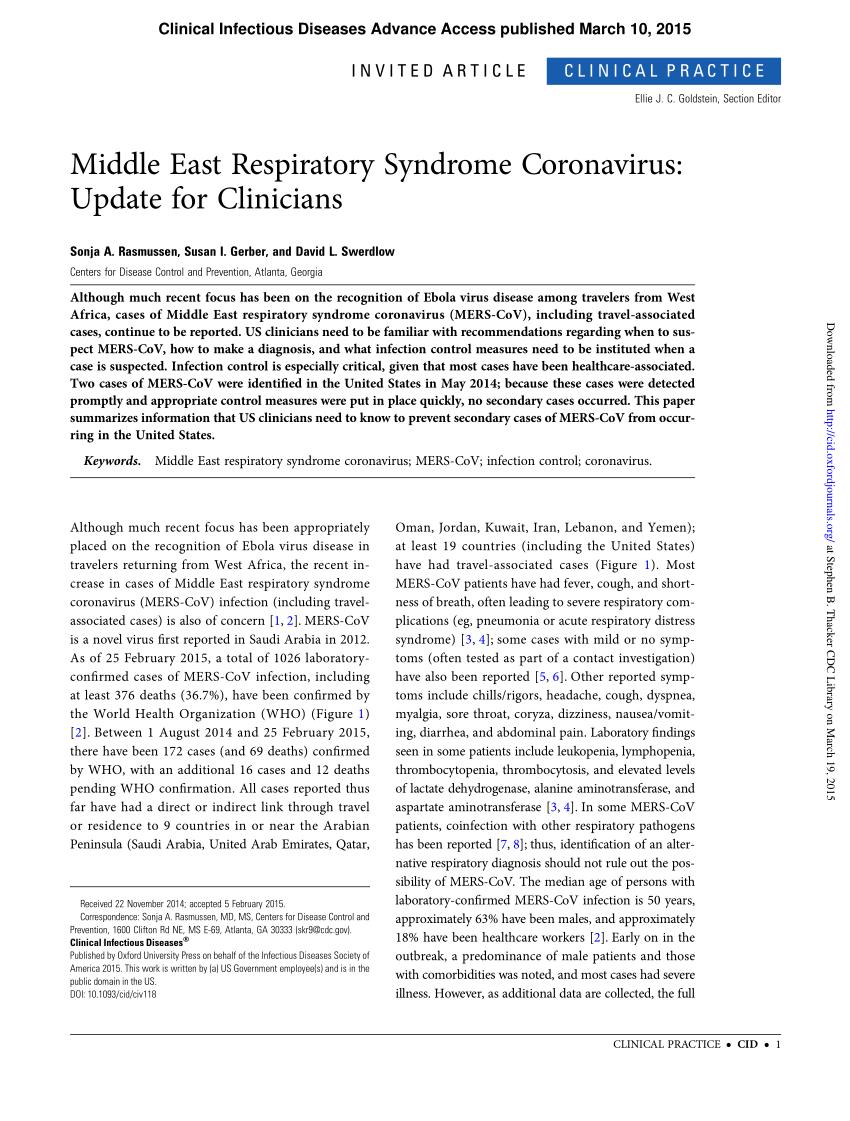 Pdf) Middle East Respiratory Syndrome-Coronavirus (Mers-Cov