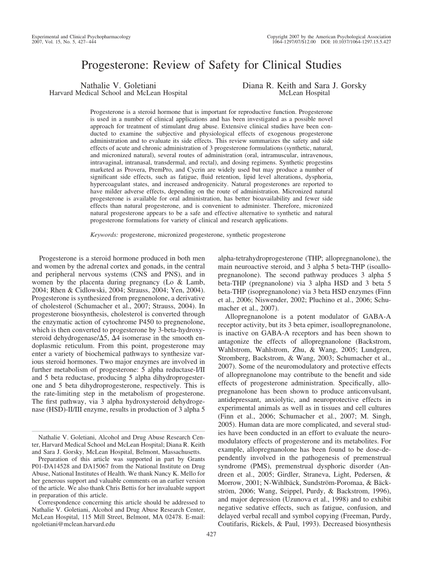 Pdf) Progesterone: Review Of Safety For Clinical Studies