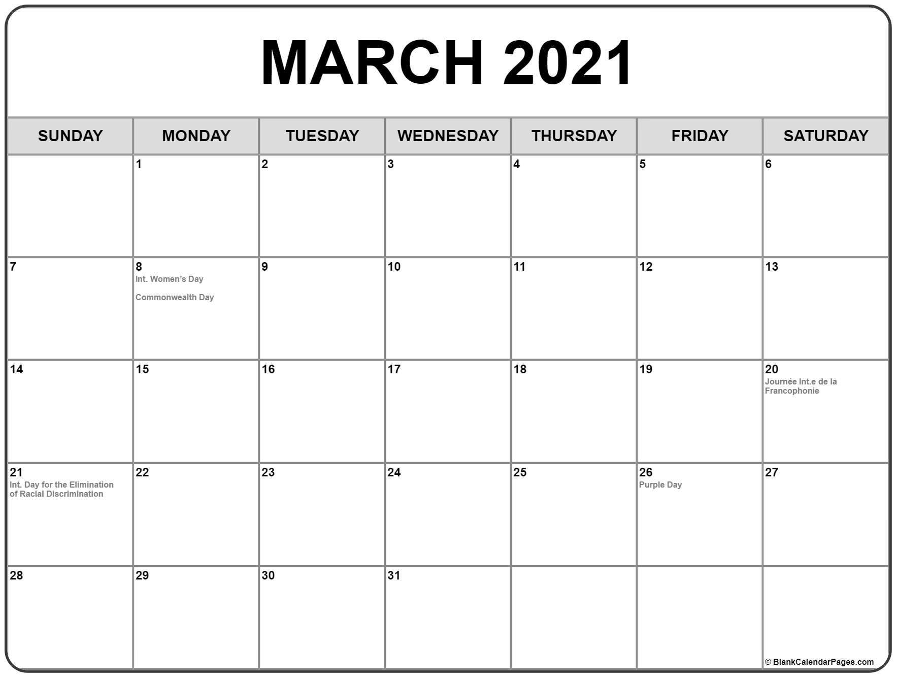 Printable 2021 Calendar Canada