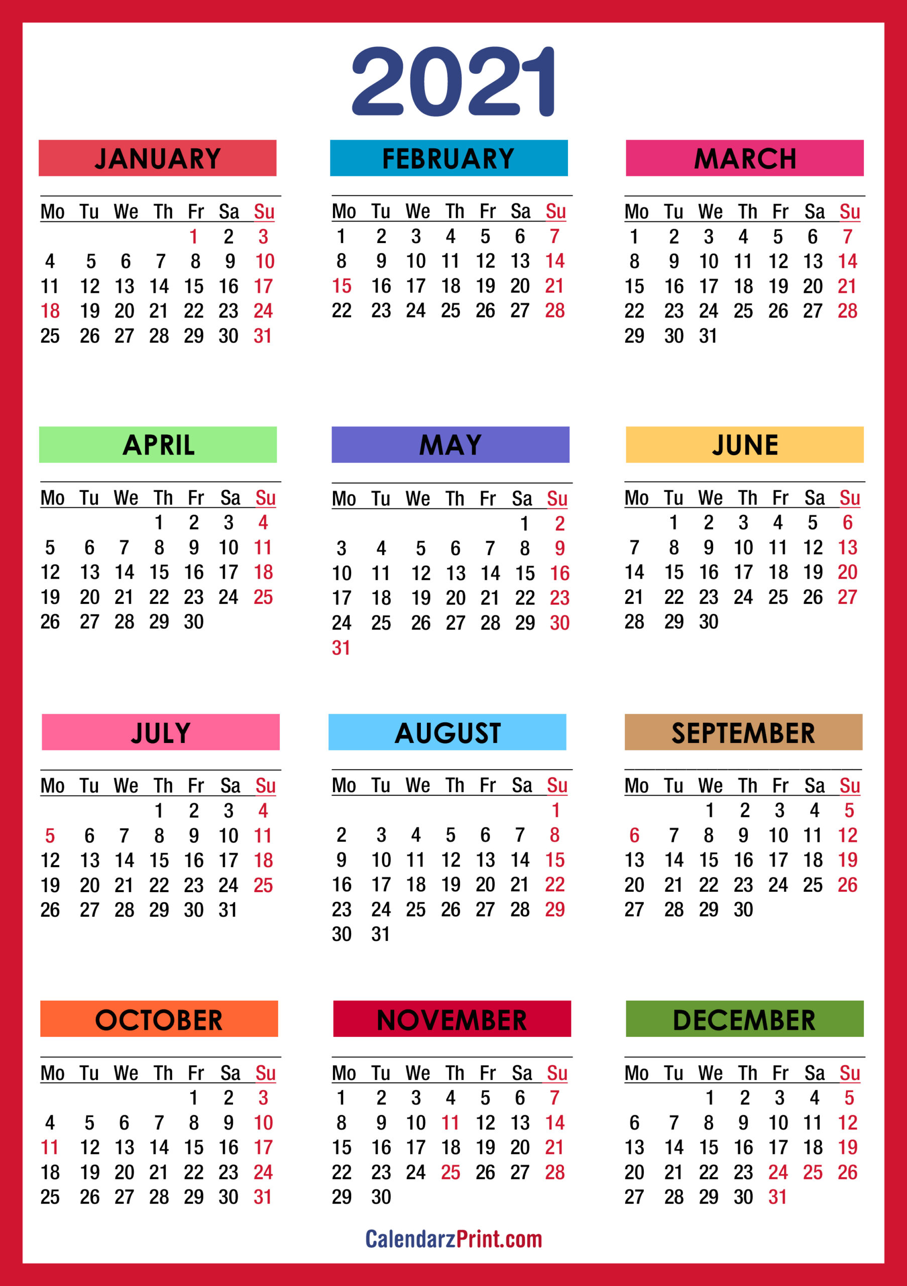 Printable 2021 Calendars With Us Holidays