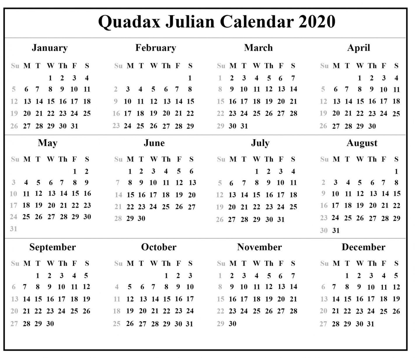 Printable 2021 Julian Calendar