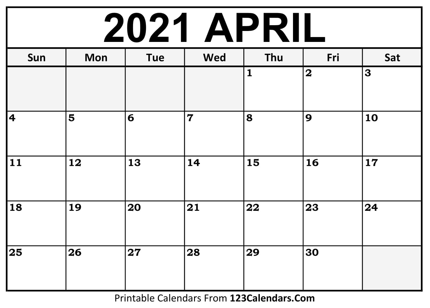 Printable April 2021 Calendar Templates