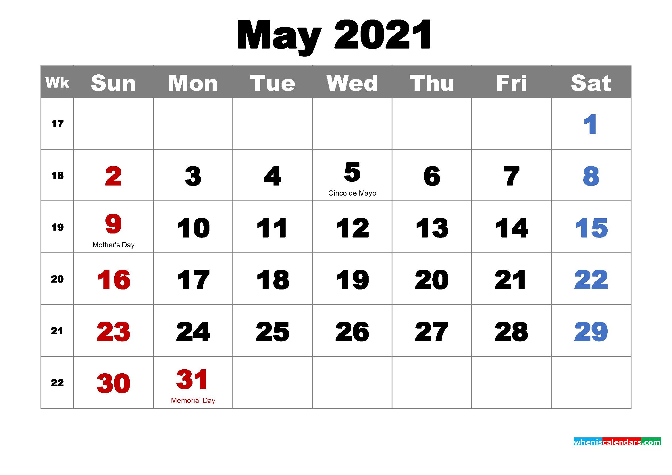 Printable Calendar May 2021 With Holidays As Word, Pdf