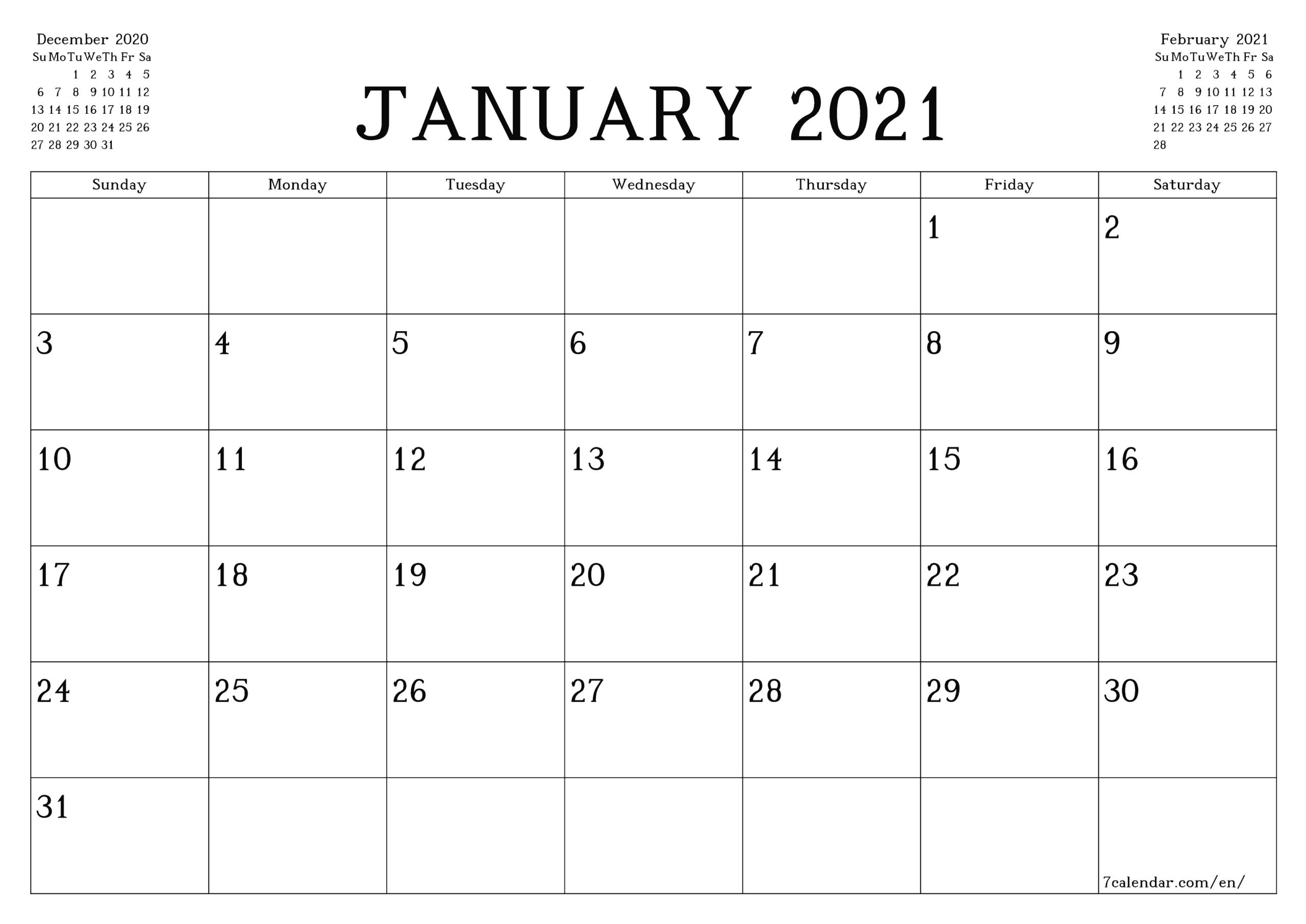 Printable Monthly Calendar 2021 To Do List
