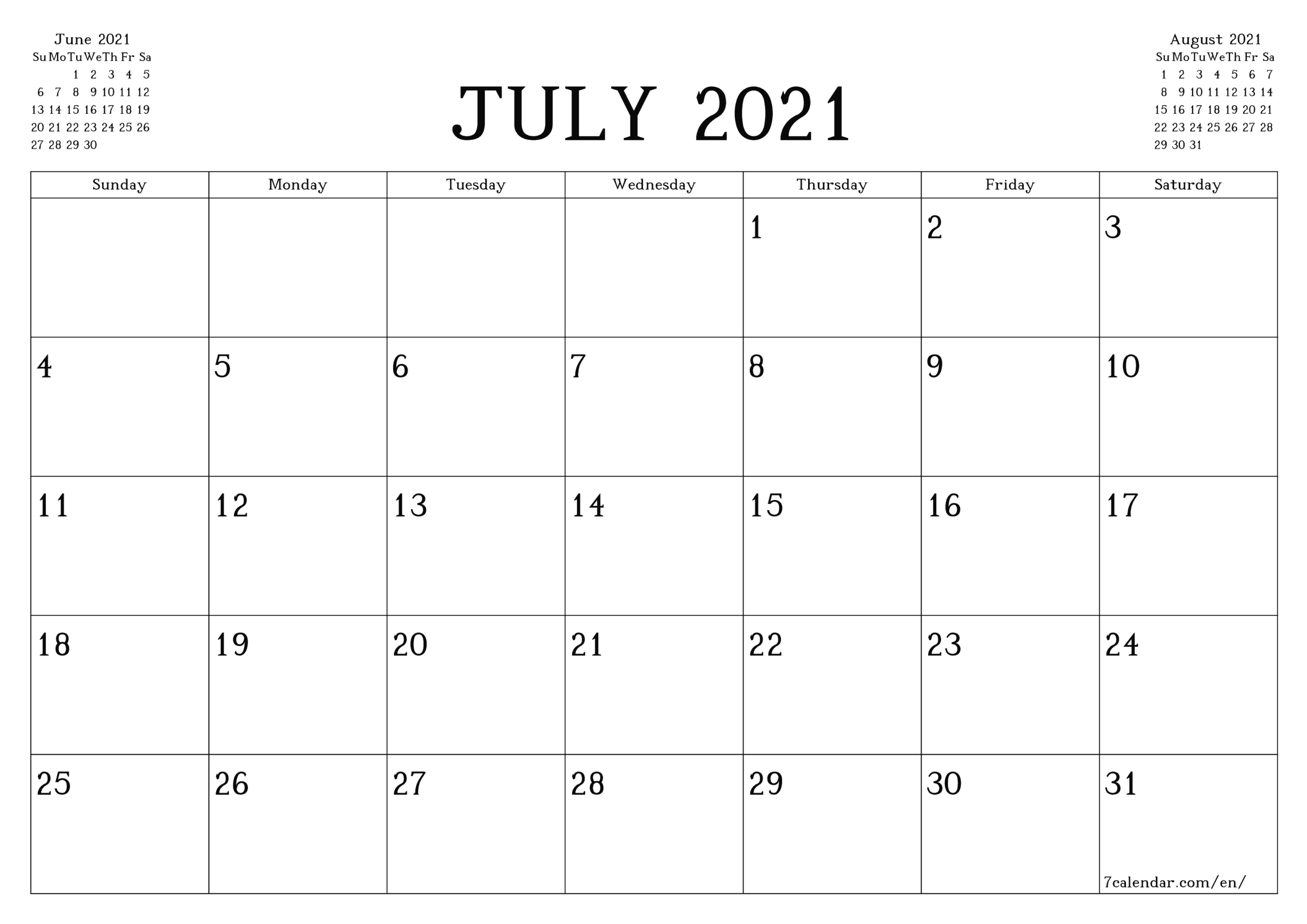 Printable Monthly Calendar July 2021
