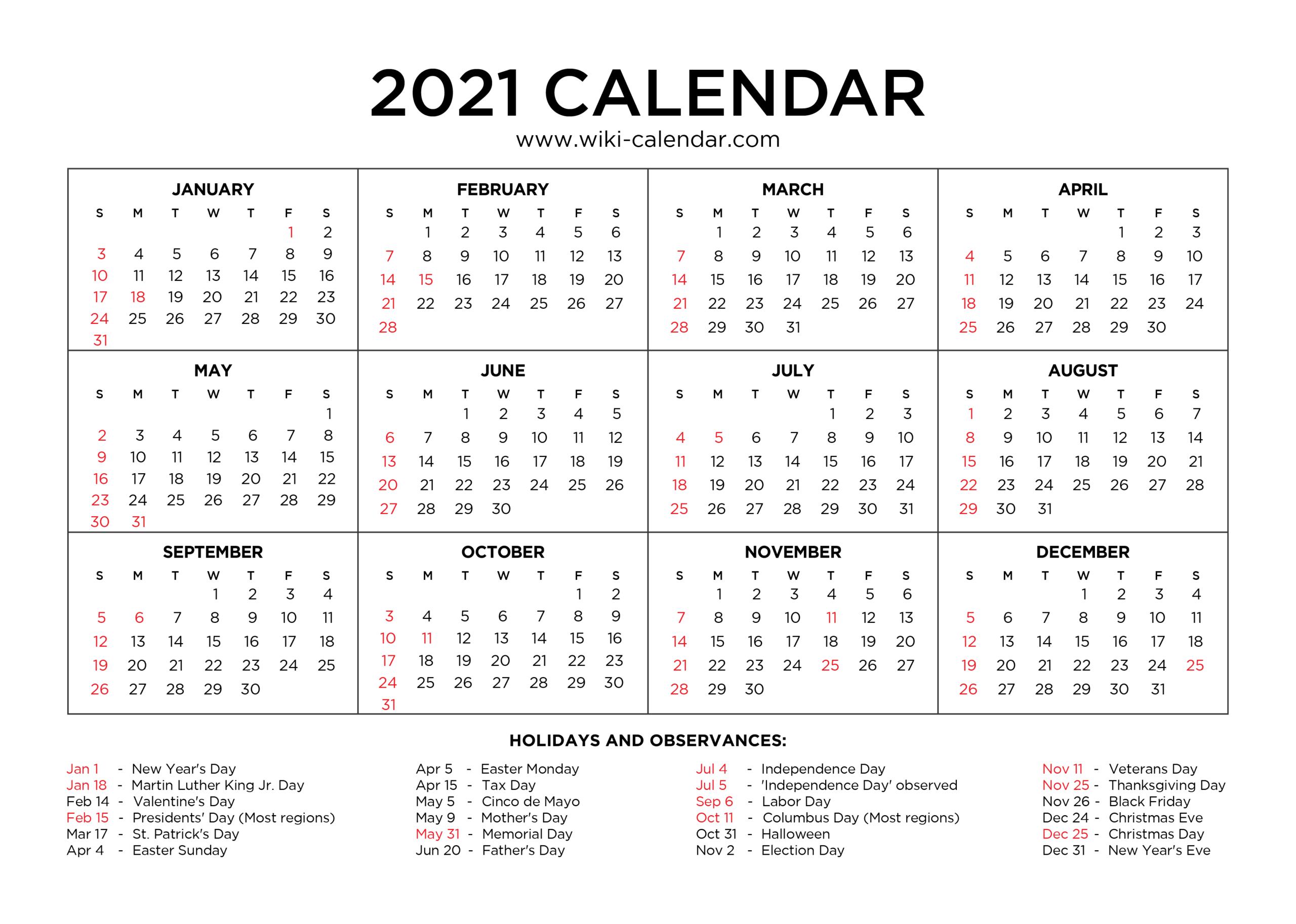 Printable One Year Calendar 2021