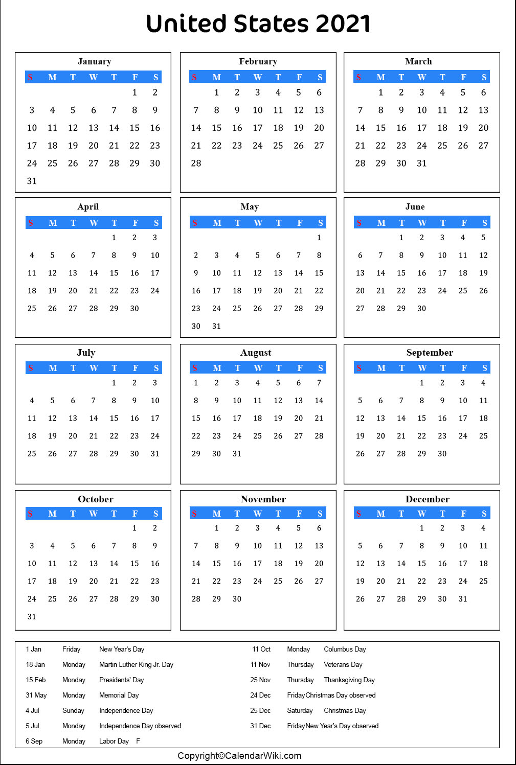 [%Printable Us Calendar 2021 With Holidays [Public Holidays]|2021 Calendar With Us Holidays|2021 Calendar With Us Holidays%]