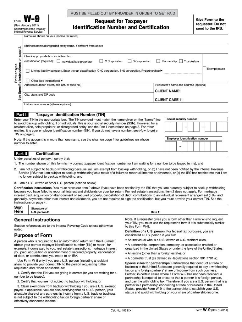Printable W9 2021 Form
