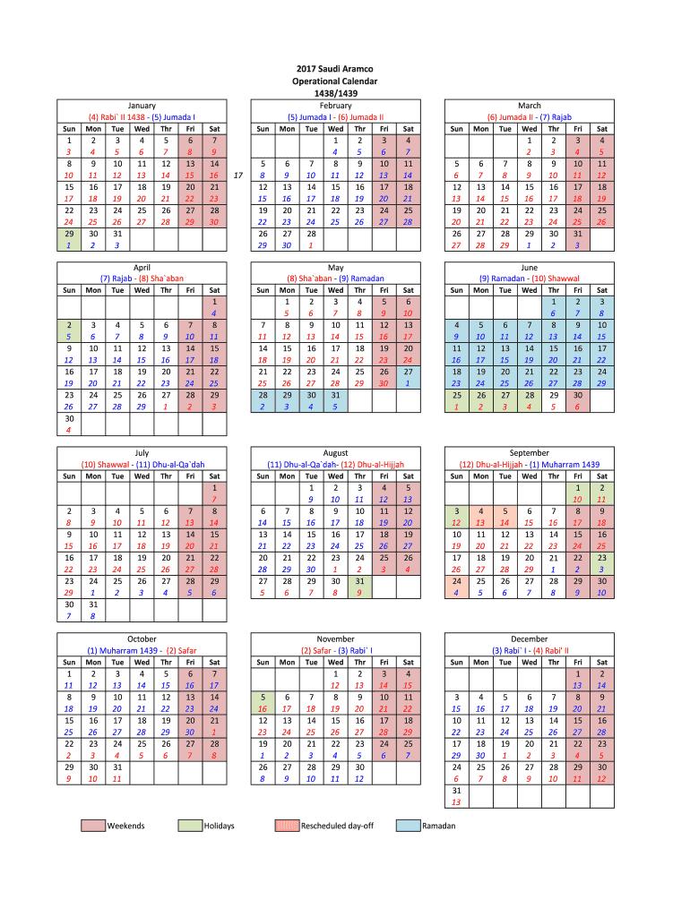 Saudi Aramco Calendar 2021