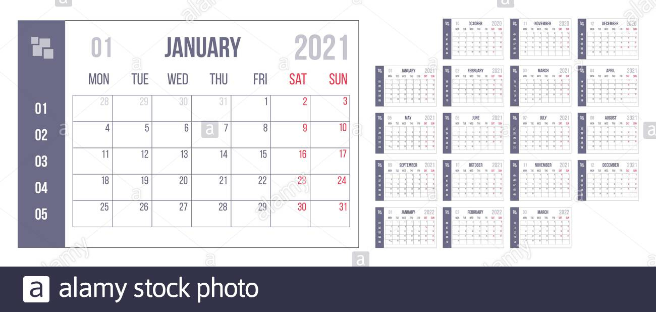 Simple 2021 Year Calendar Week Fotos E Imágenes De Stock - Alamy