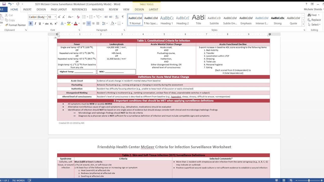 Ssti Mcgeer Criteria Surveillance Worksheet