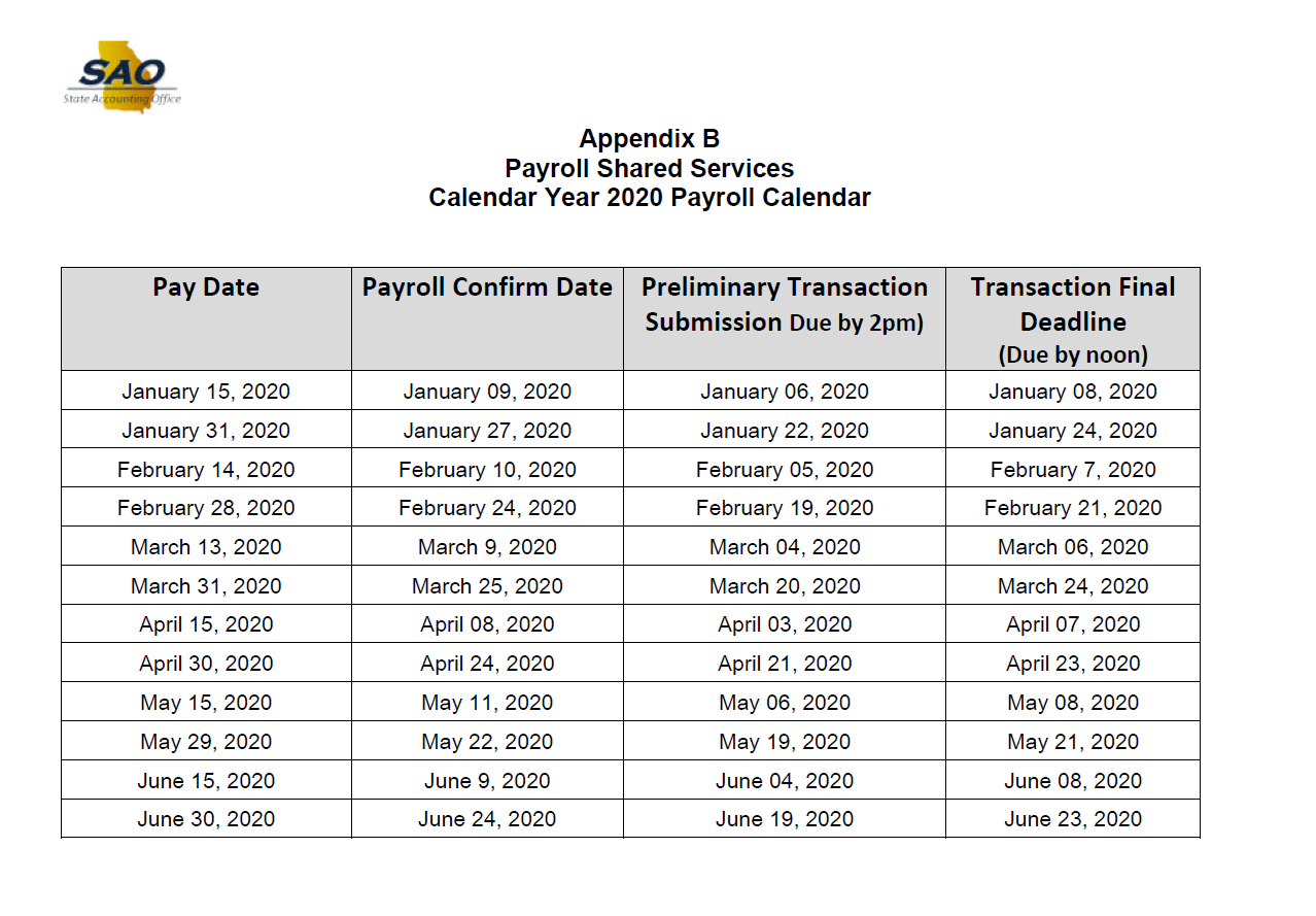 State Of Georgia Payroll Calendar 2021