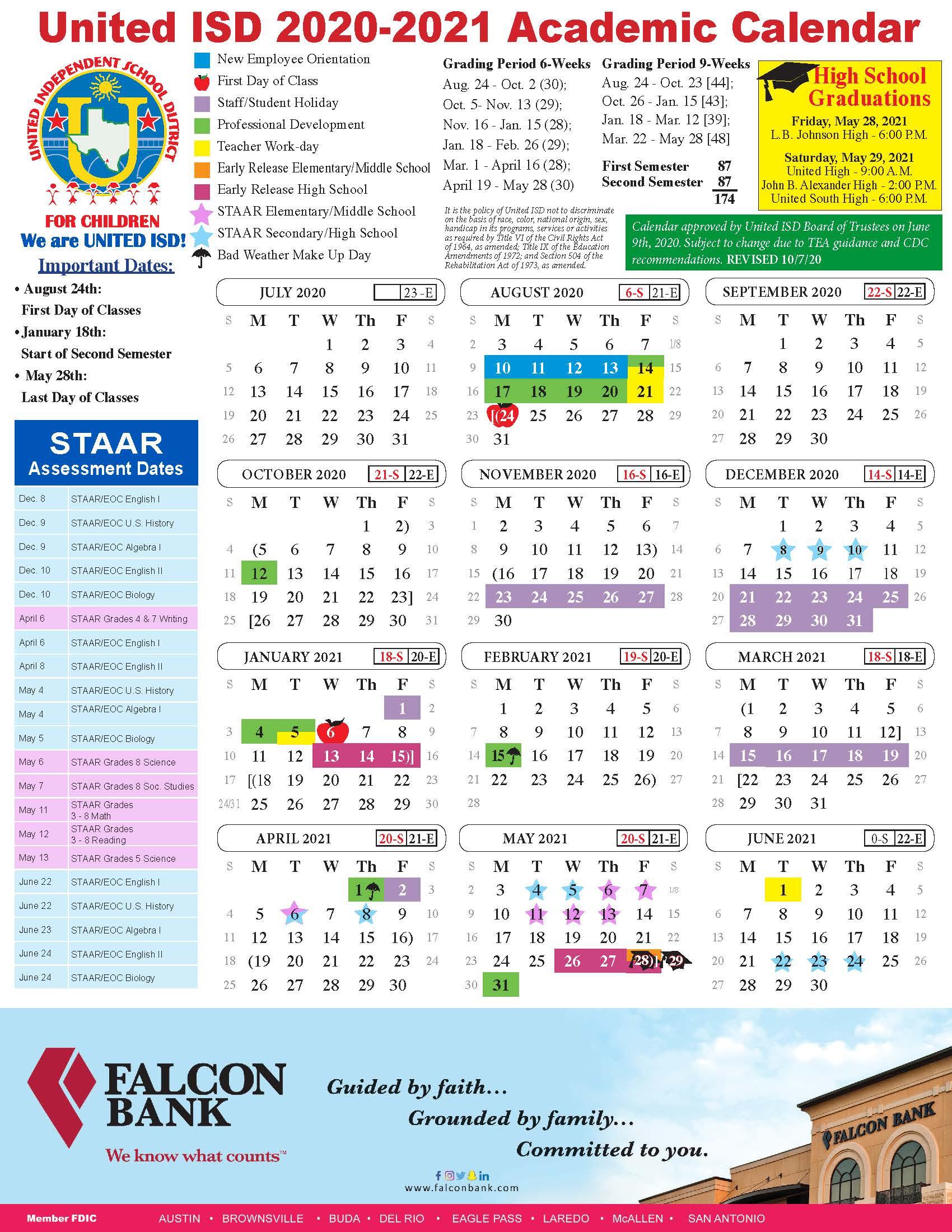United Isd - Academic Calendar