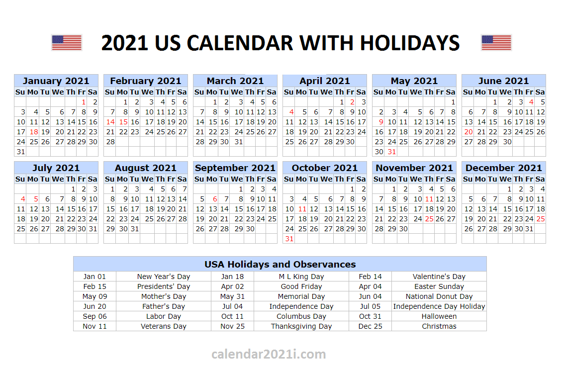 Us 2021 Holidays Calendar
