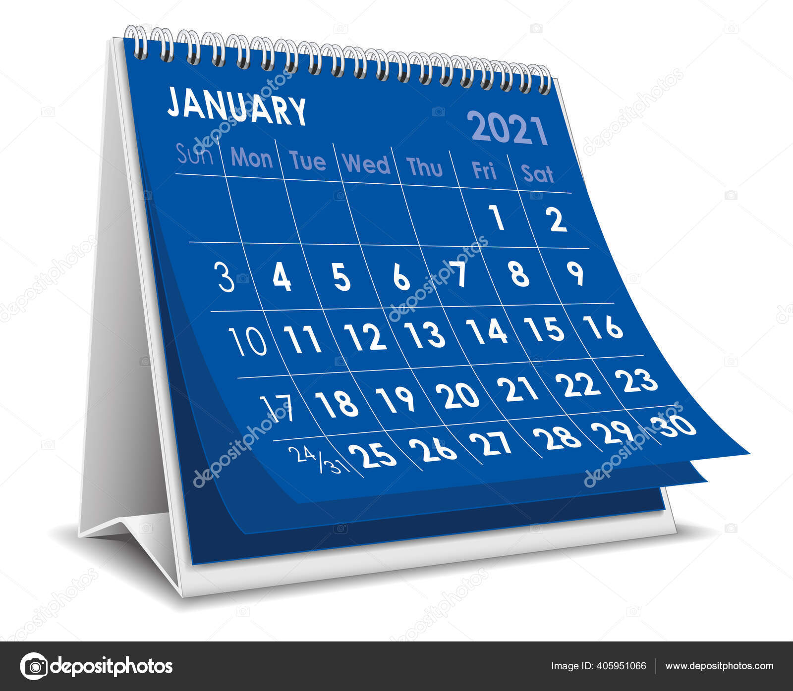 Vector Desktop 3D Calendar January 2021 Isolated In White Background  405951066