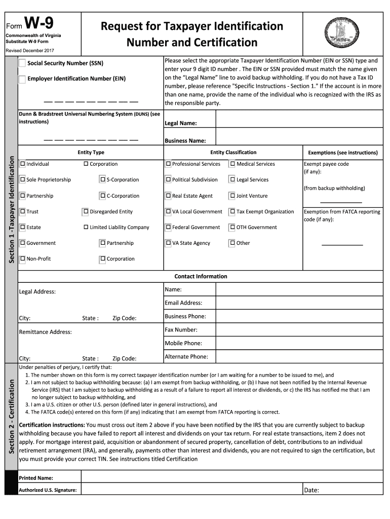 Virginia W9 - Fill Out And Sign Printable Pdf Template