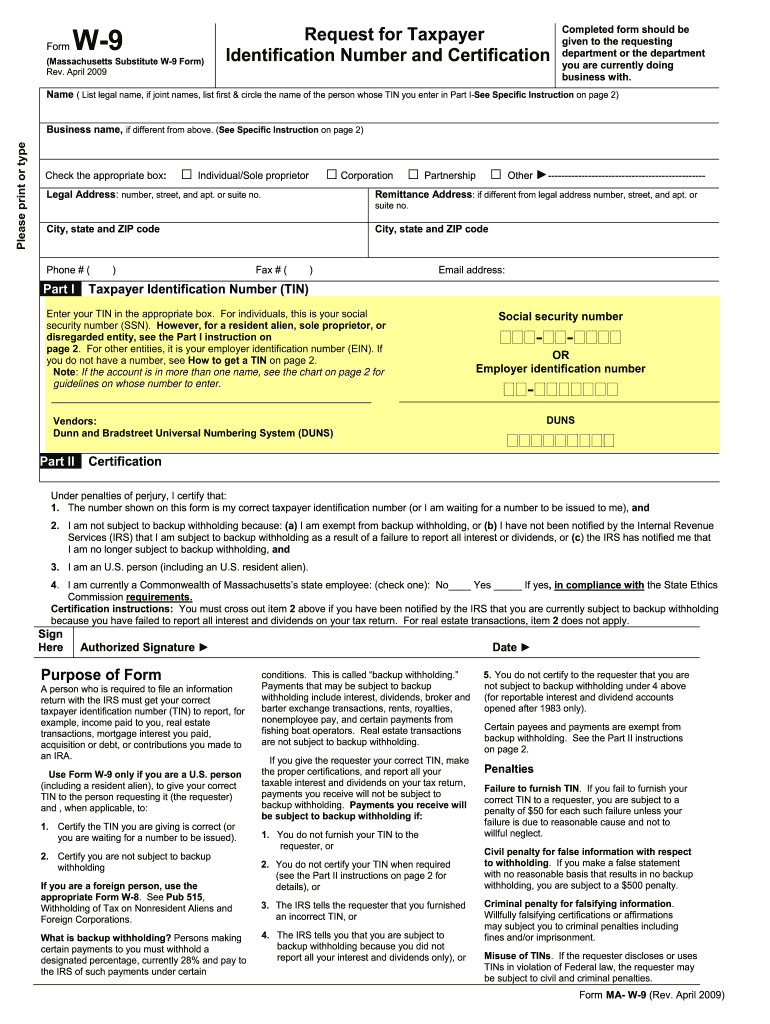 W 9 Form Ma 2020 - Fill Out And Sign Printable Pdf Template