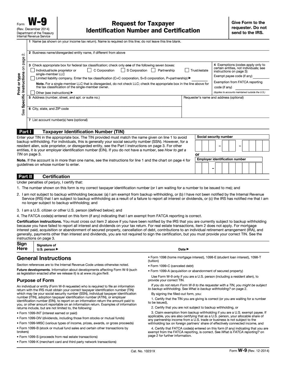 W 9 Form Print 2021