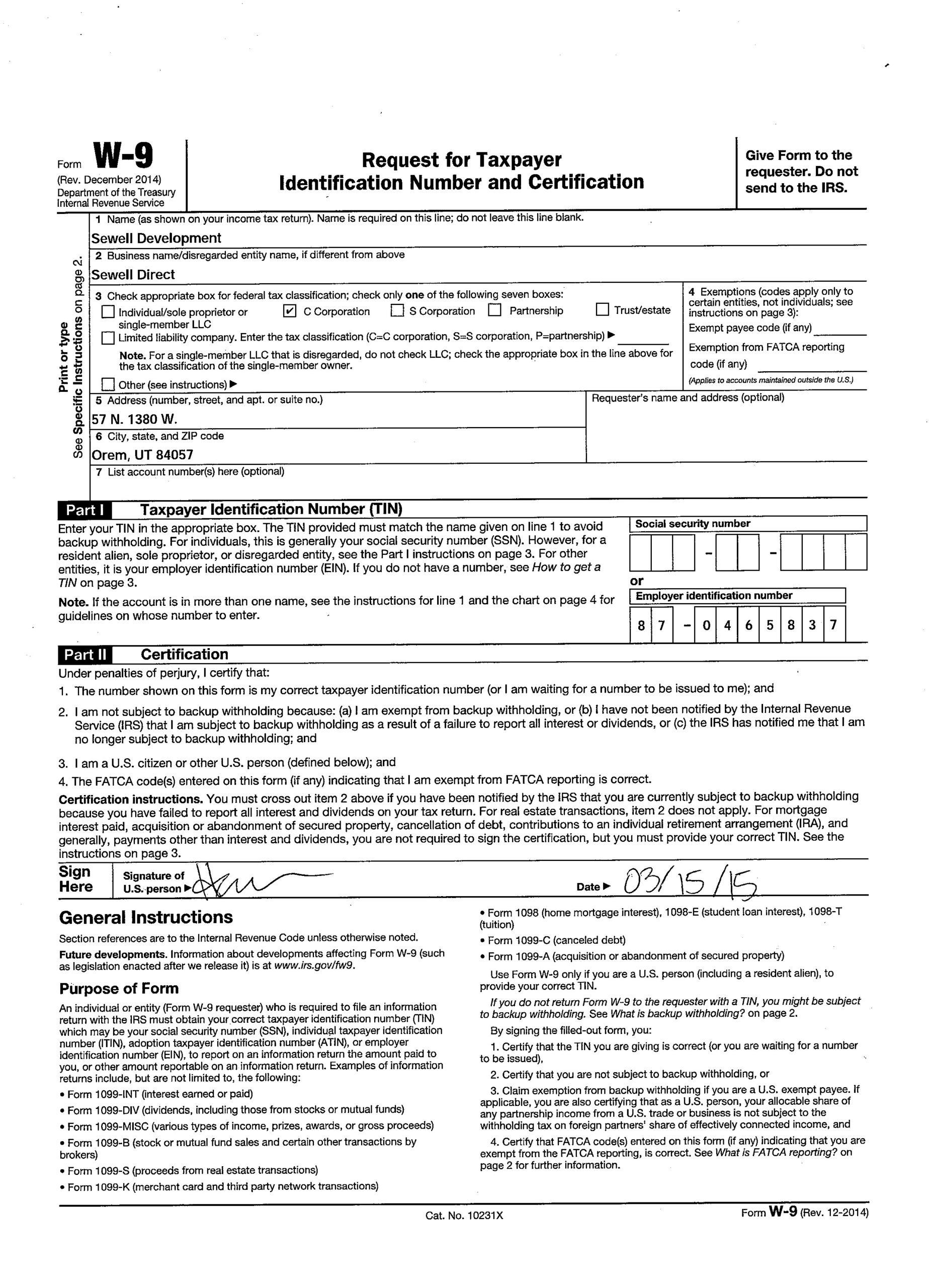 W 9 Form Printable 2021